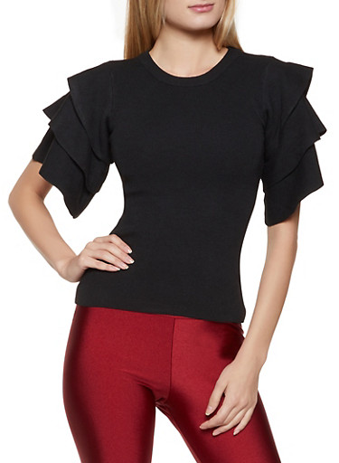 Tiered Short Sleeve Sweater,BLACK,large