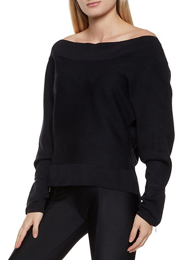 Zip Sleeve Off the Shoulder Sweater,BLACK,large
