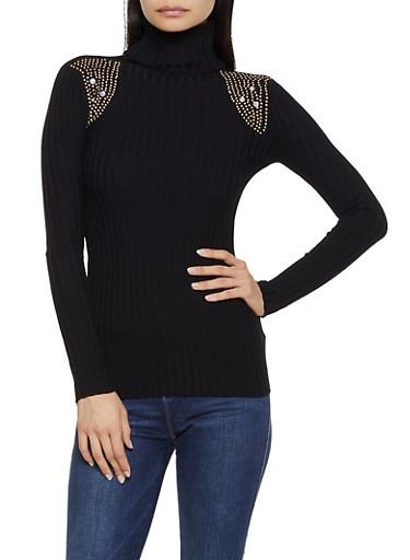 Studded Detail Turtleneck Sweater,BLACK,large