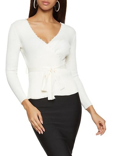 Tie Waist Faux Wrap Sweater,WHITE,large
