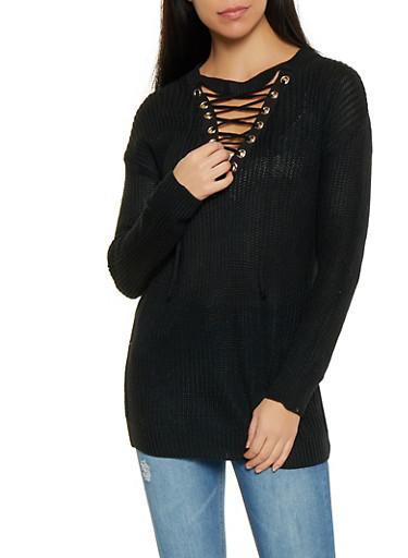 Lace Up V Neck Tunic Sweater,BLACK,large