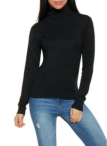 Solid Turtleneck Sweater,BLACK,large