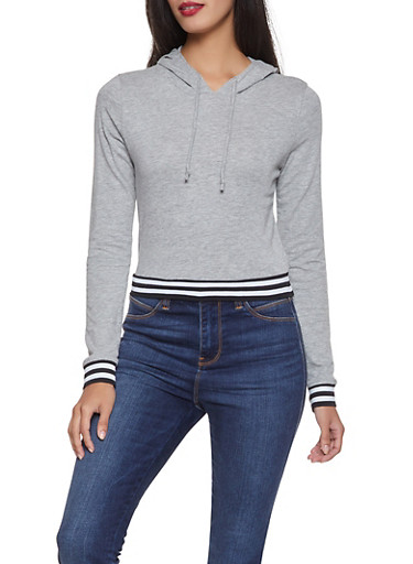 Striped Tape Hooded Top,HEATHER,large