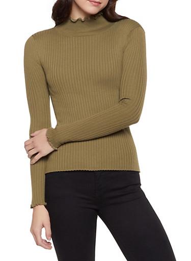 Lettuce Edge Mock Neck Sweater,OLIVE,large