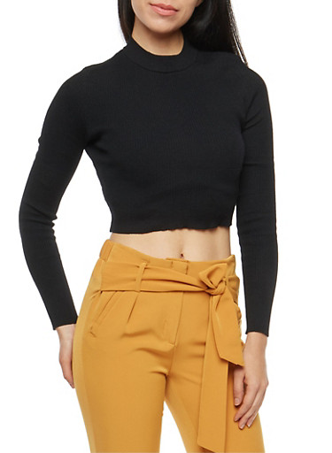 Cropped Mock Neck Sweater,BLACK,large