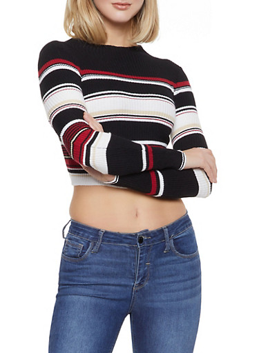 Striped Cropped Sweater,BLACK,large
