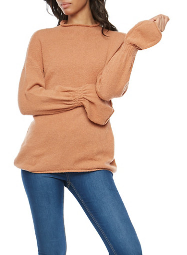 Plush Long Cinched Sleeve Sweater,CINNAMON,large