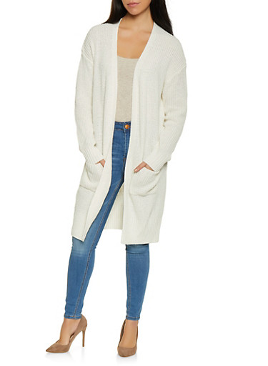 Open Front Knit Cardigan,WHITE,large