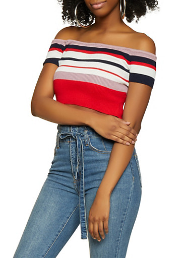 Rib Knit Striped Off the Shoulder Crop Top,RED,large