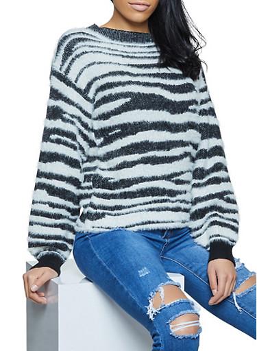 Zebra Print Eyelash Knit Sweater,BLACK/WHITE,large