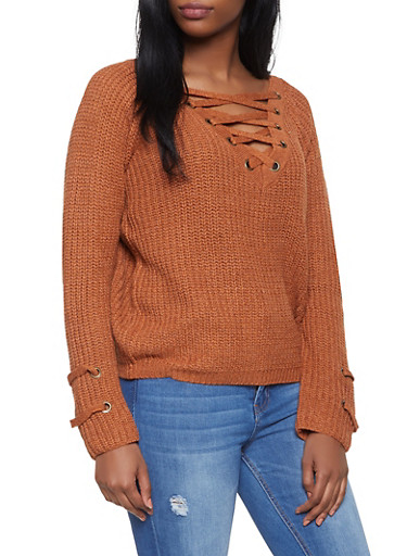 Lace Up V Neck Sweater,RUST,large