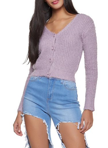 Feathered Knit Cropped Cardigan,LAVENDER,large