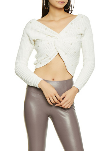 Faux Pearl Studded Twist Front Sweater,IVORY,large