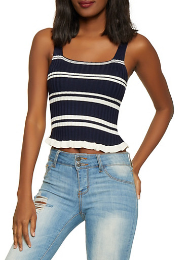 Striped Rib Knit Tank Top,NAVY,large