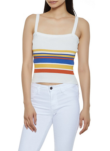 Striped Rib Knit Cropped Tank Top,WHITE,large