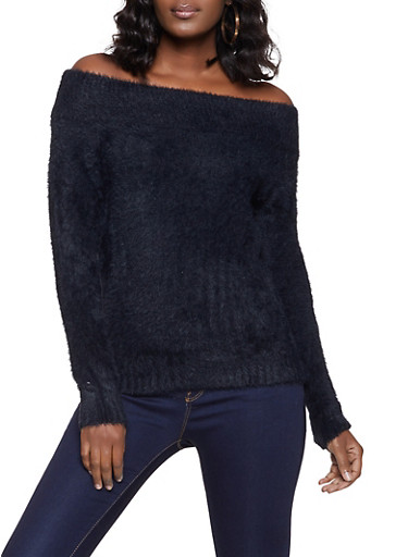 Off the Shoulder Eyelash Knit Sweater,BLACK,large