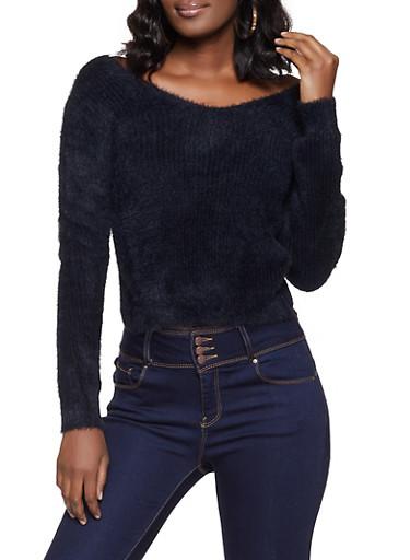 Eyelash Knit Twist Back Sweater,BLACK,large