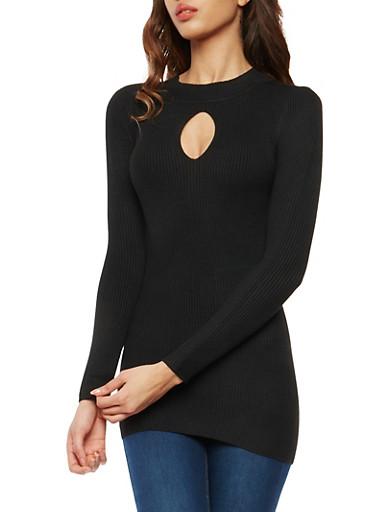 Rib Knit Keyhole Tunic Sweater,BLACK,large
