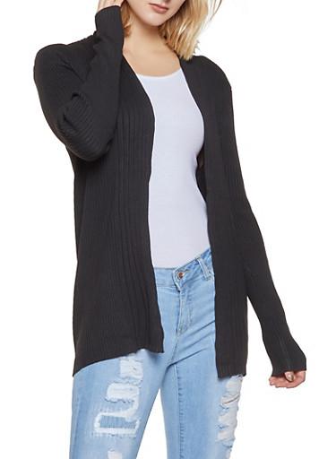 Rib Knit Open Front Cardigan,BLACK,large
