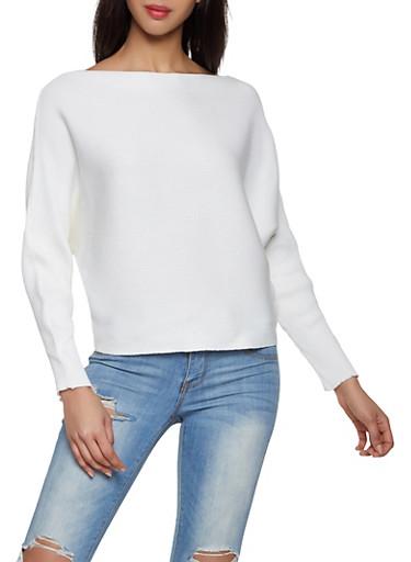 Dolman Sleeve Sweater,IVORY,large