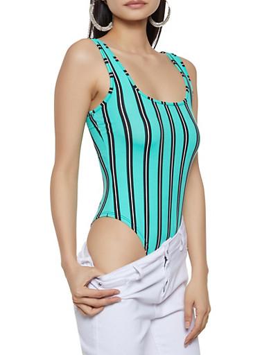 Striped Thong Bodysuit | 1405061357115,JADE,large