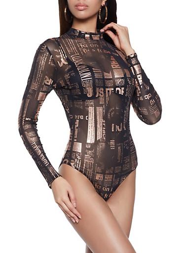 Foil Graphic Mesh Bodysuit,BLACK,large