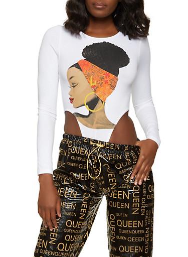 High Cut Afro Girl Bodysuit,WHITE,large