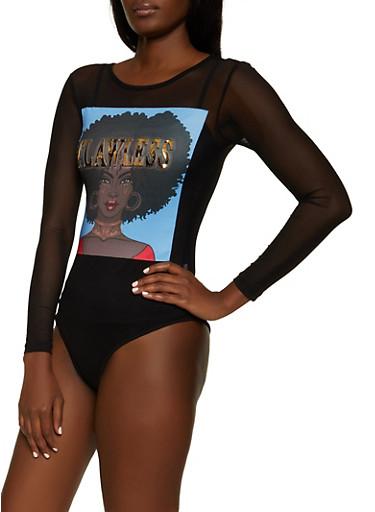 3D Flawless Mesh Bodysuit,BLACK,large