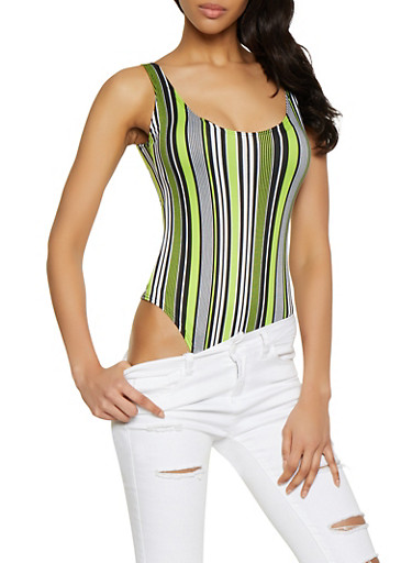 Striped Thong Bodysuit | 1405063400774,LIME,large
