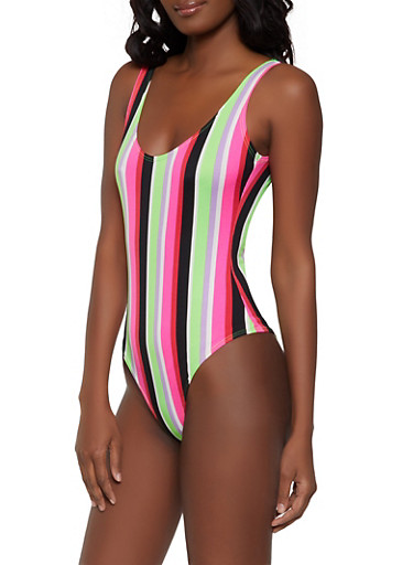 Neon Striped Thong Bodysuit,RED,large
