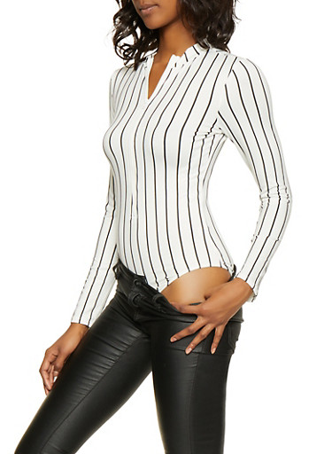 Striped Zip Front Bodysuit,BLACK/WHITE,large