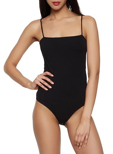 Rib Knit Square Neck Bodysuit,BLACK,large