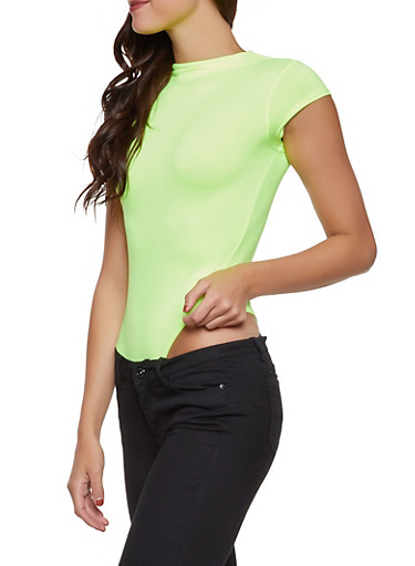 Neon Mock Neck Thong Bodysuit,LIME,large