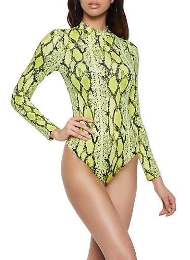Neon Snake Print Mock Neck Bodysuit,NEON LIME,large