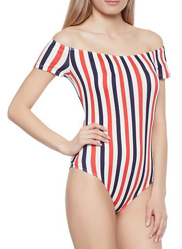 Striped Off the Shoulder Bodysuit,RED,large