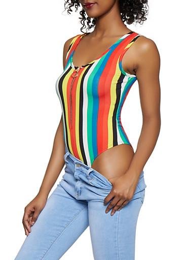 Half Zip Striped Bodysuit,BLACK,large