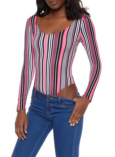 Striped Neon Bodysuit,PINK,large