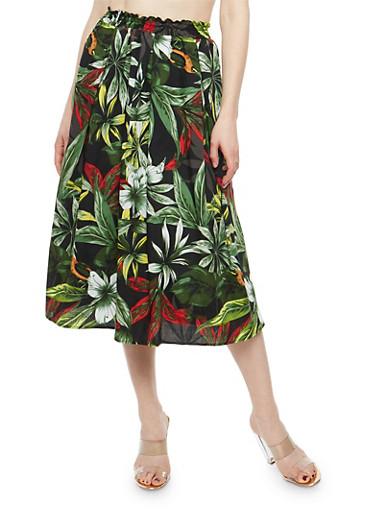 Tropical Floral Skater Skirt,GREEN,large