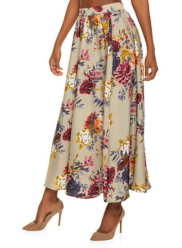 Floral Maxi Skirt,BROWN,large