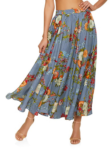 Floral Striped Maxi Skirt,MULTI COLOR,large
