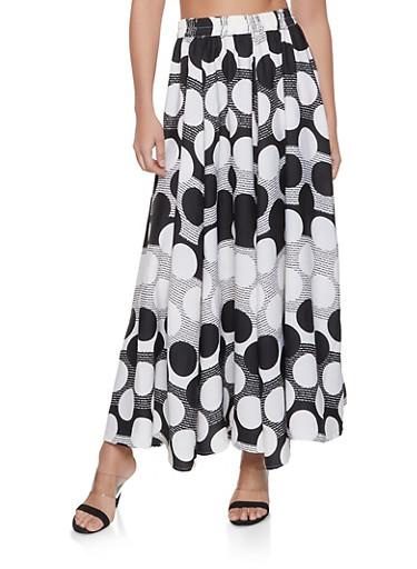 Polka Dot Maxi Skirt,BLACK/WHITE,large