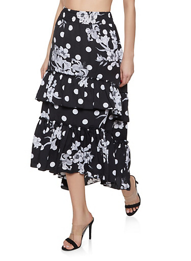 Tiered Floral Polka Dot Maxi Skirt,BLACK,large