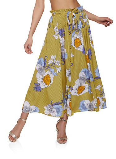 Striped Floral Button Front Maxi Skirt,YELLOW,large