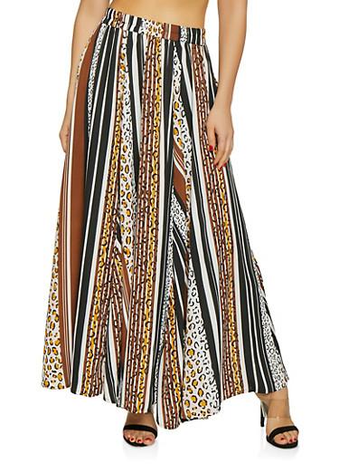 Striped Animal Print Skater Skirt,BROWN,large