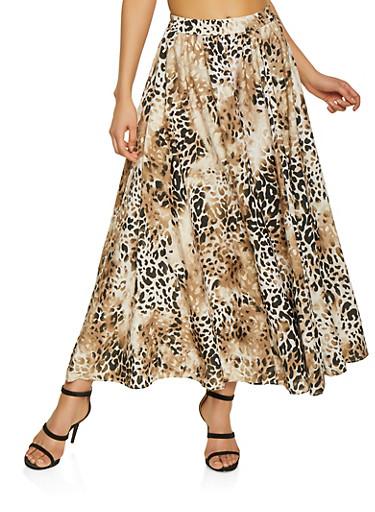 Animal Print Skater Skirt,BROWN,large