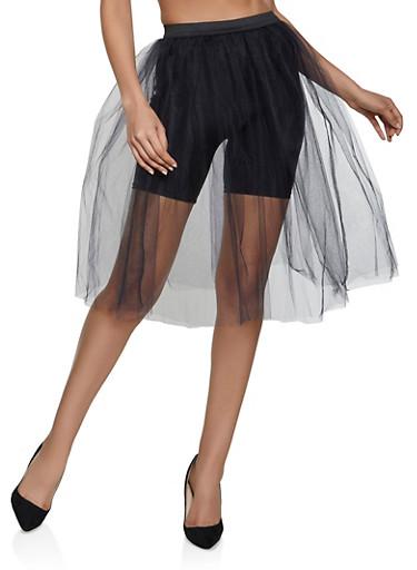 Midi Tulle Skirt,BLACK,large