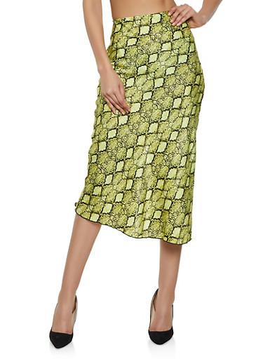 Satin Snake Print Skirt,MUSTARD,large