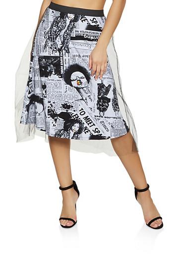 Newspaper Print Tulle Skater Skirt,BLACK,large