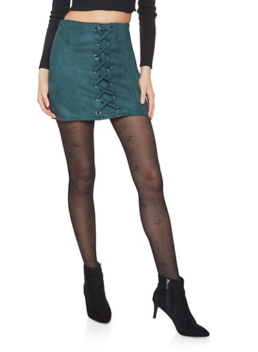 Faux Suede Lace Up Mini Skirt,GREEN,large
