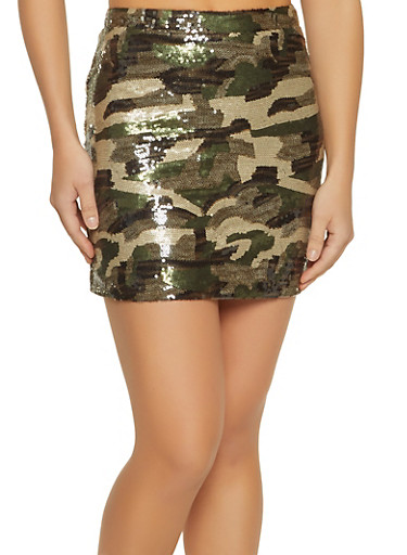 Sequin Camo Mini Skirt,OLIVE,large